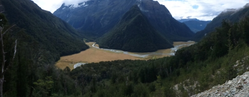 View of the Routeburn Valley from Routeburn Valley Falls hut