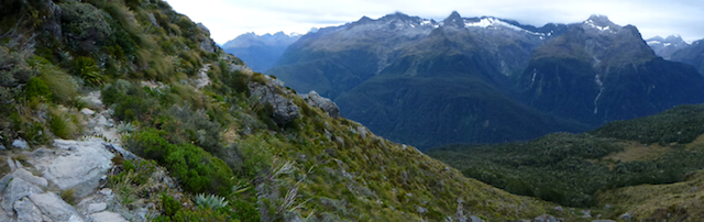 The trail following the mountainside along the Hollyford valley