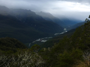 The Hollyford river in the valley below